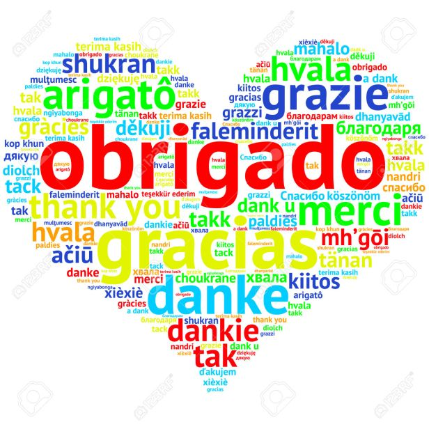 Portuguese: Obrigado, Heart shaped word cloud Thanks, on white